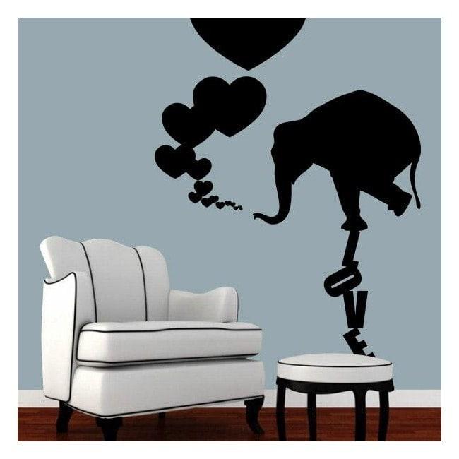 Decorazione pareti elefante amore