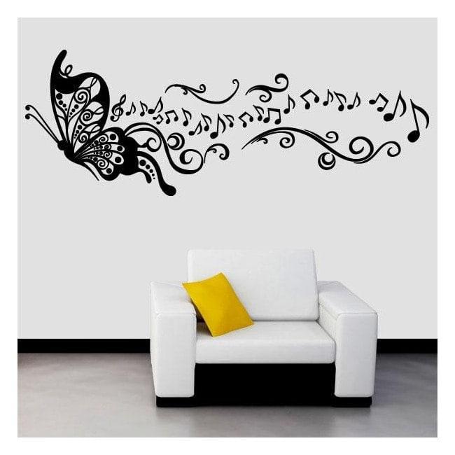 Musica vinile decorativo farfalla - Vinilos decorativos bilbao ...