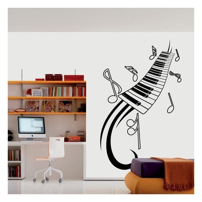 Vinile decorativo note musicali e pianoforte