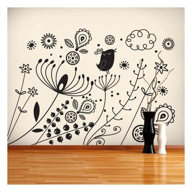 Autoadesivo della parete arte floreale