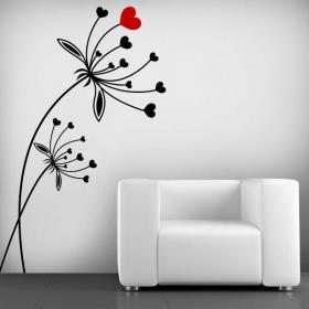 Fiori cuore vinile decorativo