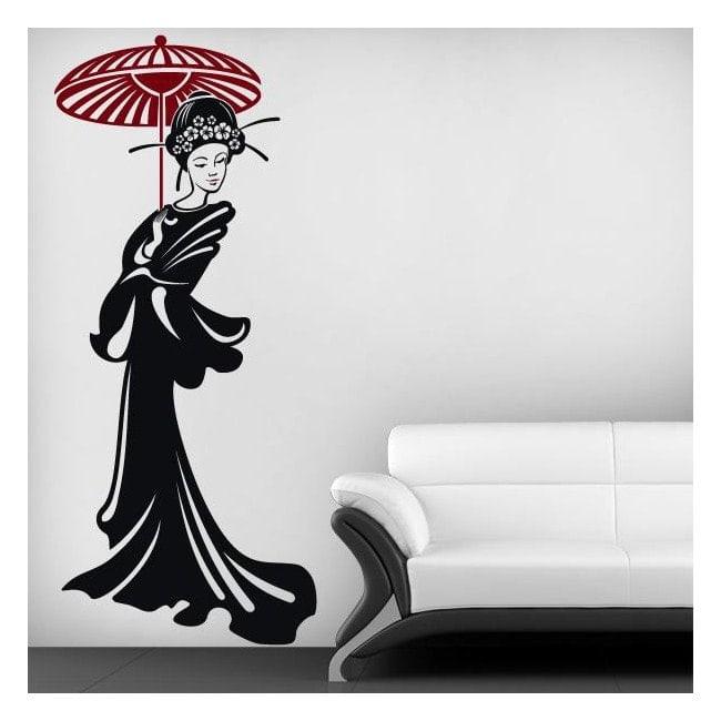 Silhouette donna giapponese vinile decorativo