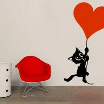 Decorare il gatto romantiche mura