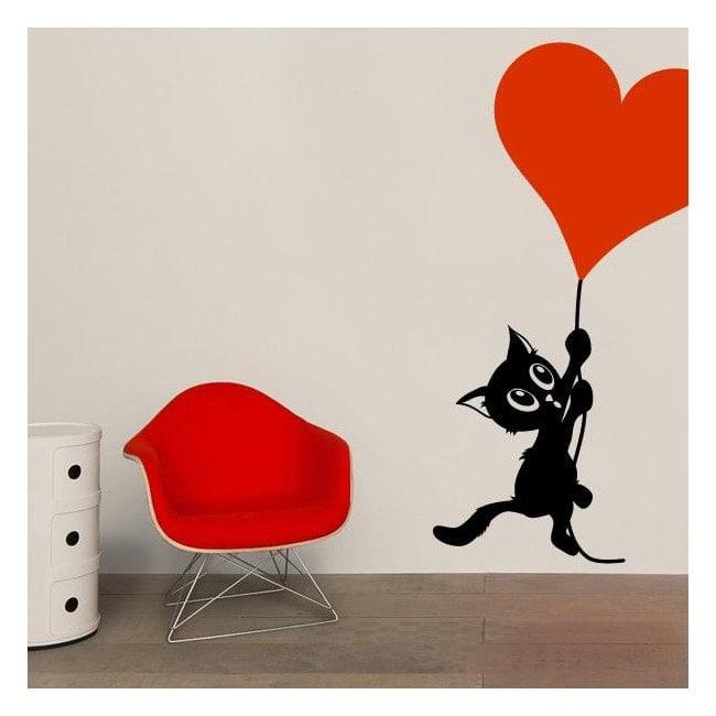 Decorare il gatto romantiche mura
