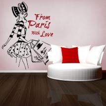 Donna vinile decorativo illustrazione a mano libera Parigi