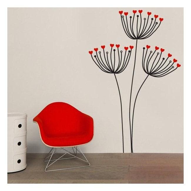Cuori fiori vinile decorativo
