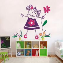 Ragazza di vinile decorativi bambini con fiori