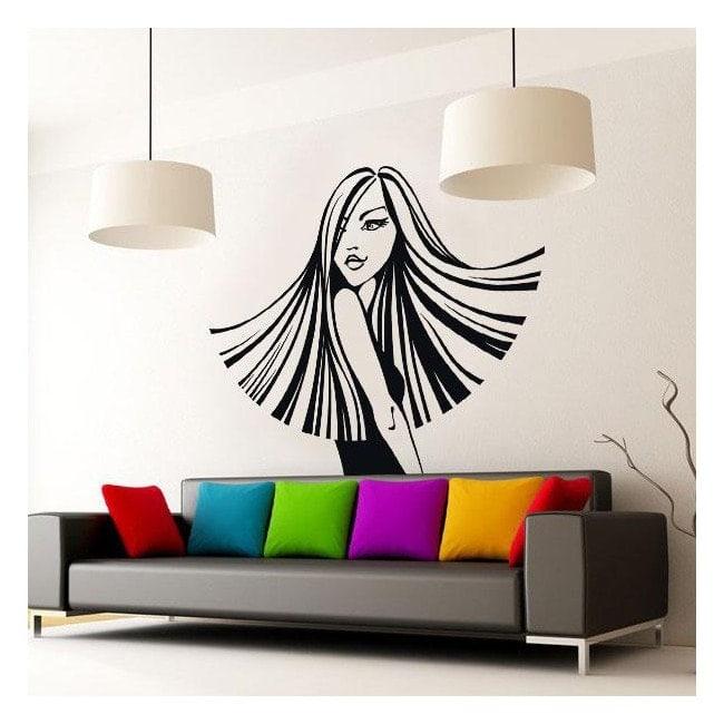 Stile di vinile decorativo muro silhouette donna