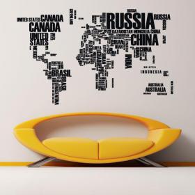 Testi di mappa mondo vinile decorativo