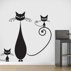 Famiglia di vinile decorativo di gatti