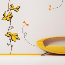 Vinile decorativo muro fiori e libellule