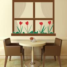 Finestra del vinile decorativo con fiori Italian 791