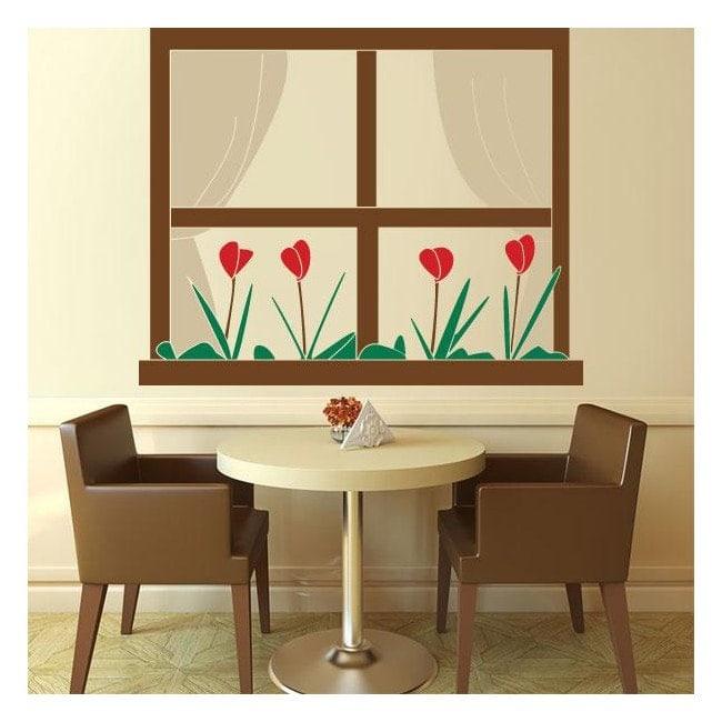 Finestra del vinile decorativo con fiori italian 791 for Finestra con fiori disegno
