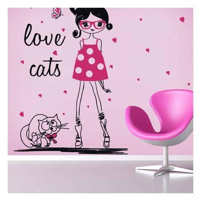 Donna sagoma vinile amore gatti