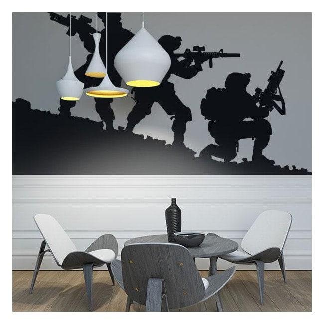 Pannelli luminescente dividendo fluowall sagome militari