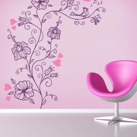 Vinile e romantici fiori, adesivi