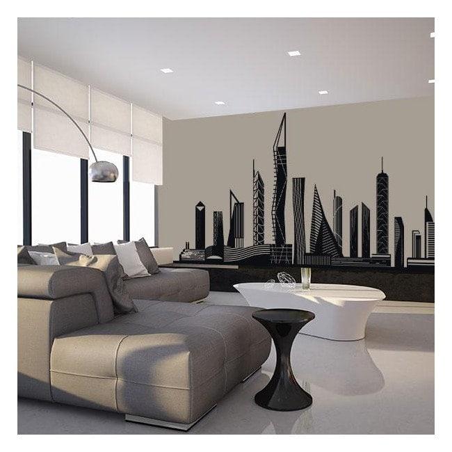 Pannelli luminescente, dividendo la città fluowall Skyline