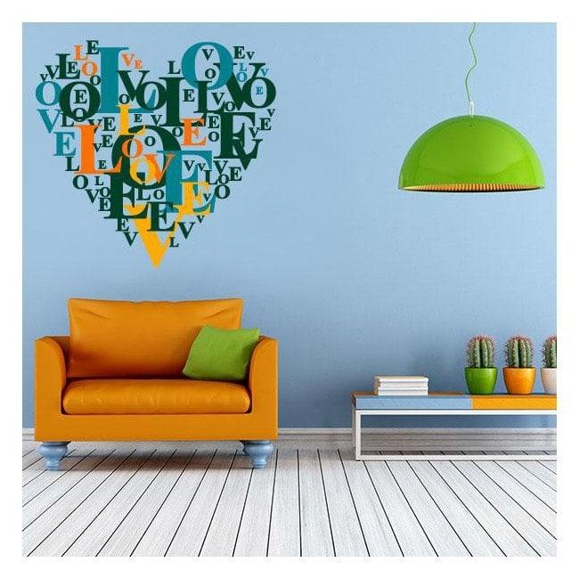 Testi di vinile decorativo cuore amore