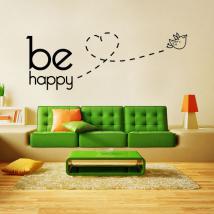 Testi di vinile decorativo e frasi essere felice