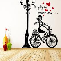 Bici donna romantica vinile decorativo