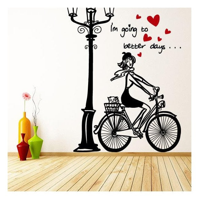 Bici donna romantica vinile decorativo Italian 913