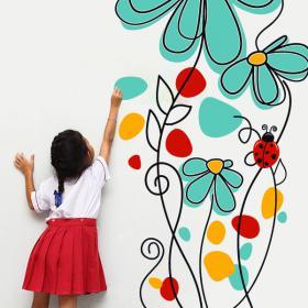 Vinile decorativo fiori e coccinelle