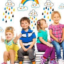 Bambini vinile nuvole e pioggia di colori