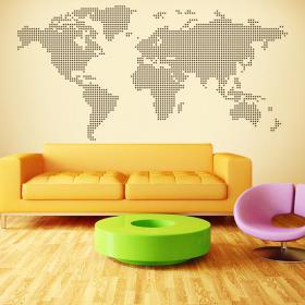 Mappa del mondo di vinile decorativo punti cerchi