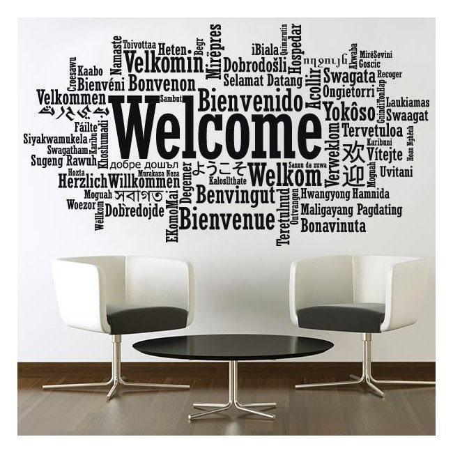 Adesivi in vinile decorativo benvenuto lingue