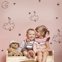 Nuvole di vinile bambini luna stelle e punti di colori