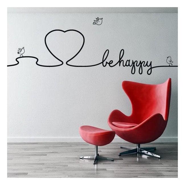 Vinile decorativo testi decorano pareti Be Happy