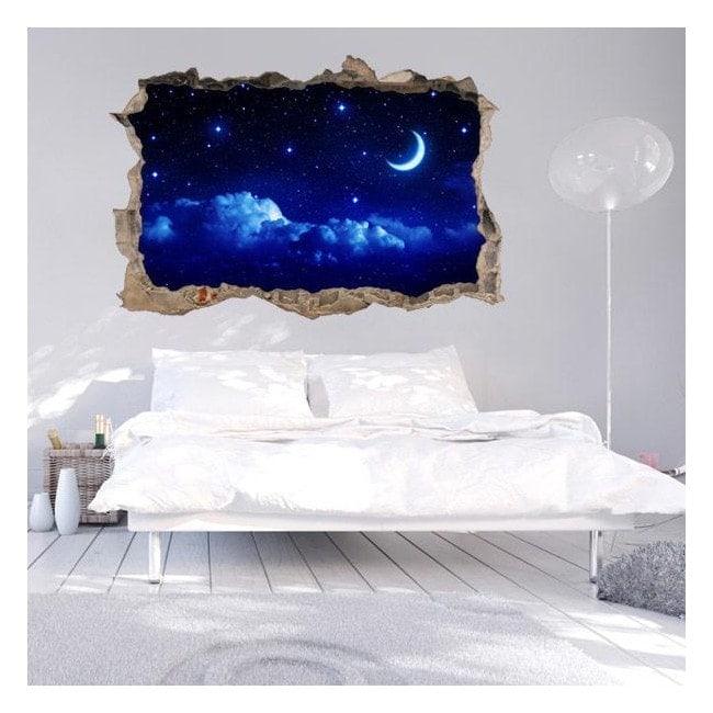 Vinile parete 3D luna e stelle
