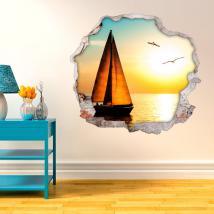 Tramonto a vela 3D pareti di vinile
