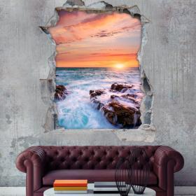 Vinyl tramonto sopra il mare 3D