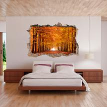 In autunno gli alberi 3D in vinile Italian 4479