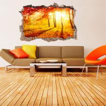 Autunno di alberi di vinile 3D foro parete