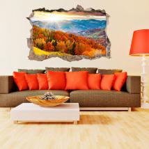 Alberi di parete 3D vinile buco nelle montagne
