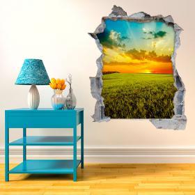 Vinyl tramonto 3D parete nel campo