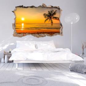 Parete 3D vinile rotto al tramonto sul mare