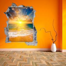 Tramonto di vinile parete 3D sulla spiaggia