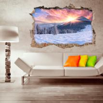Montagne ricoperte neve tramonto 3D vinile Italian 4516