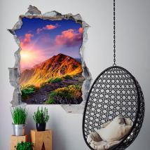 Tramonto e montagne 3D vinile