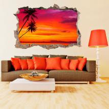 Alberi di Palma 3D vinile sulla spiaggia