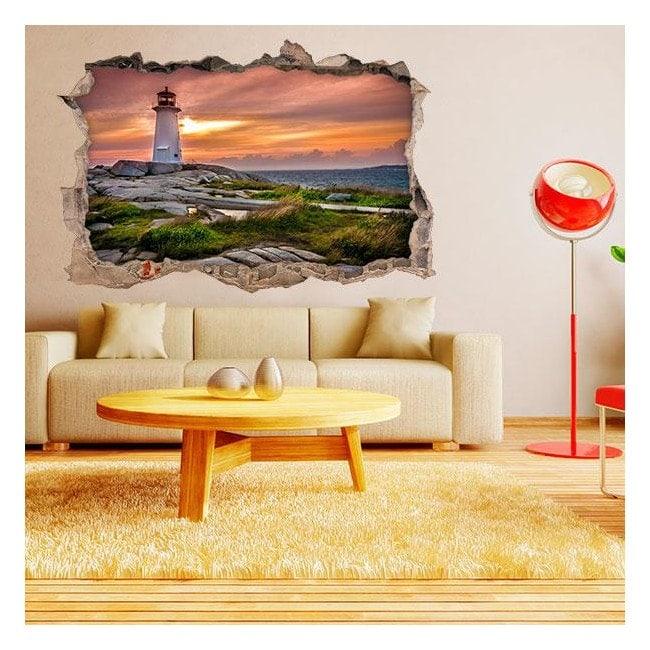 Faro e mare 3D pareti in vinile