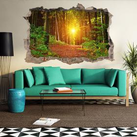 Vinyl tramonto della foresta 3D