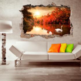 3D parete in vinile Swan
