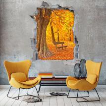 Autunno di alberi panca vinile 3D