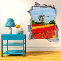 Vinile di tulipani e mulino 3D