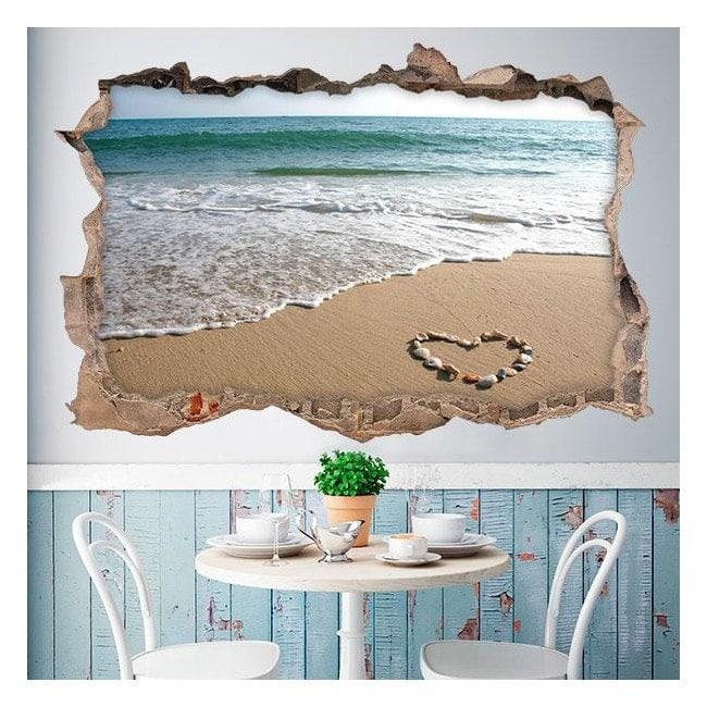 Cuore 3D vinile in spiaggia