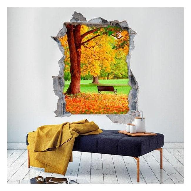 Vinile banco ed albero 3D autunno